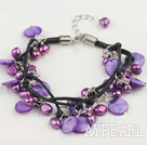 Nice Purple Series Freshwater Pearl And Disc Shell Braided Bracelet With Extendable Chain