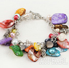 Fashion Multi Color Freshwater Pearl And Mixed Shape Shell Metal Charm Link Bracelet With Toggle Clasp