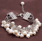 Fashion Multi Strand Natural White Ferskvann Pearl Charm Bracelet
