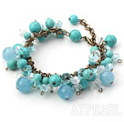 Green Series Blue Crystal and Turquoise and Kyanite Bracelet with Bronze Chain