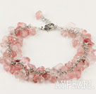 Nice Cluster Style Chipped Cherry Quartz Bracelet With Extendable Chain