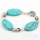 Nice White Gray Pearl And Large Oval Shape Turquoise And Crystal Bracelet