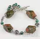 Wholesale Wonderful Simple Style Green Freshwater And Green Piebald Stone Bracelet With Toggle Clasp