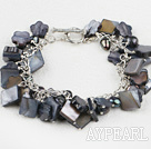 Fashion Loop Chain Style Black Square Flower Shell And Black Pearl Bracelet With Toggle Clasp