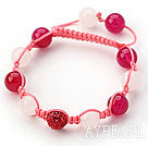 Hot Pink Series 10mm Round White Jade and Pink Agate and Rhinestone Beads Adjustable Drawstring Bracelet
