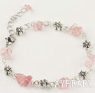 Wholesale Simple Style Cherry Quartz Chips Flower Metal Charm Bracelet With Extendable Chain