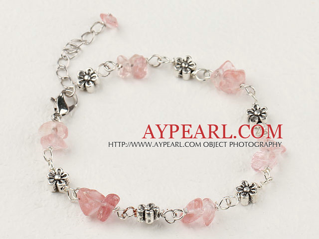 Simple Style Cherry Quartz Chips Flower Metal Charm Bracelet With Extendable Chain
