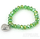 Grass Green Manmade Crystal Elastic Bangle Bracelet with Heart Shape Metal Accessories