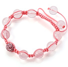 Pink Series 10mm Round Madagascar Rose Quartz and Rhinestone Beads Adjustable Drawstring Bracelet