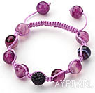 Purple Series 10mm Round Purple Stripe Agate and Rhinestone Beads Adjustable Drawstring Bracelet