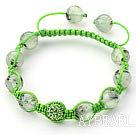 Light Green Series 10mm Round Prehnite and Rhinestone Beads Adjustable Drawstring Bracelet