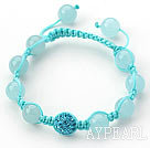 Light Blue Series 10mm Light Blue Jade and Rhinestone Beads Adjustable Drawstring Bracelet