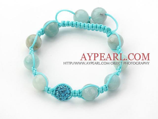 Cool Series 10mm Round Amazon Stone and Rhinestone Beads Adjustable Drawstring Bracelet