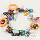 Nice Multi Color Freshwater Blister Pearl And Orange Hollow Disc Shell Bracelet With Toggle Clasp