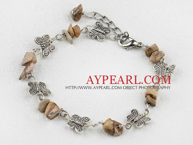 Nice Chipped Picture Jasper And Butterfly Charm Bracelet With Extendable Chain