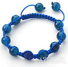 Dark Blue Series 10mm Round Dark Blue Facted Agate Stone and Rhinestone Beads Adjustable Drawstring Bracelet