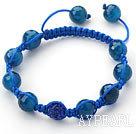 Dark Blue Series 10mm Round Dark Blue Facted Agate Stone and Rhinestone Beads Adjustable Drawstring Bracelet