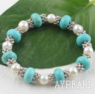 Fashion White Freshwater Pearl And Turquoise Metal Charm Beaded Elastic Bangle Bracelet