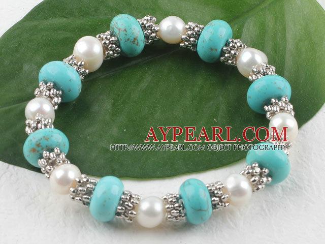Fashion White Freshwater Pearl And Turquoise Metal Charm Beaded Elastic Bangle Bracelet
