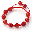 Red Series 10mm Round Carnelian and Rhinestone Beads Adjustable Drawstring Bracelet