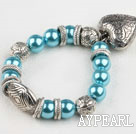 Fashion Blue Round Acrylic Pearl And Engraved Metal Charm Heart Pendant Bracelet