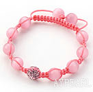 Wholesale Pink Series 10mm Round Pink Cats Eye and Rhinestone Beads Adjustable Drawstring Bracelet