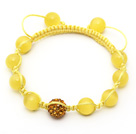 Yellow Series 10mm Round Yellow Cats Eye and Rhinestone Beads Adjustable Drawstring Bracelet