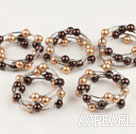 Wholesale Fashion 5 Pcs 12Mm Champagne And Brown Color Acrylic Manmade Pearl Wrap Wired Bangle Bracelet