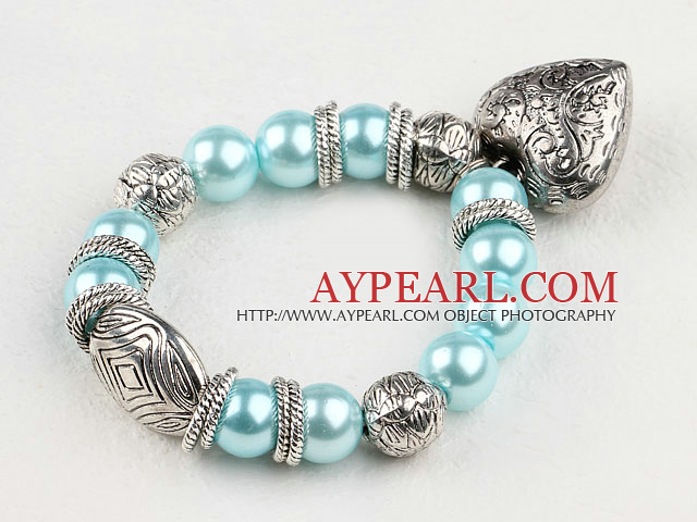 Fashion Aquamarine Blue Round Acrylic Pearl And Engraved Metal Charm Heart Pendant Bracelet