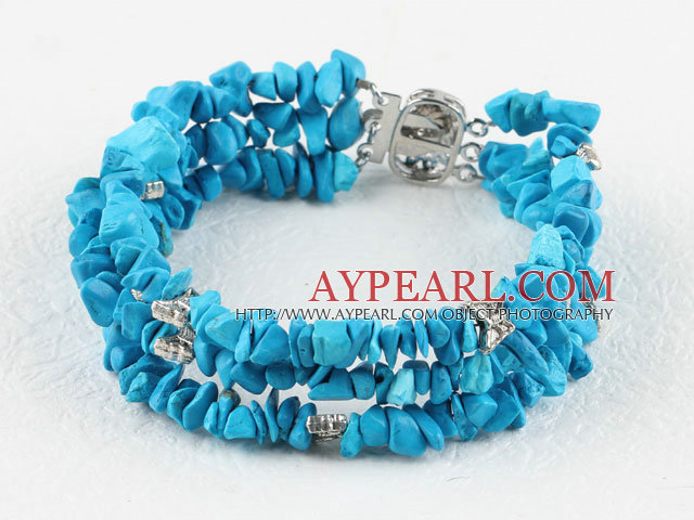 Popular 3-Strand Chips Blue Turquoise And Butterfly Metal Charm Bracelet With 3-Row Clasp