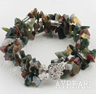 Nice 3-Strand Colorful Indian Agate Chips Bracelet With Inserted Closure