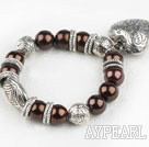 Wholesale Lovely Brown Round Acrylic Pearl And Engraved Metal Charm Heart Pendant Bracelet