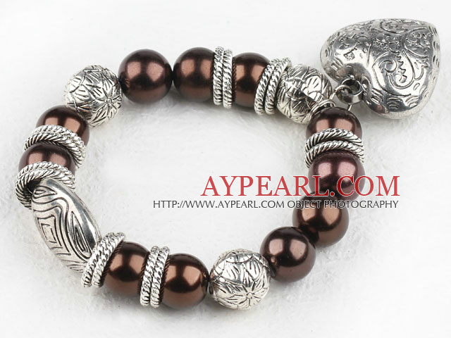 Lovely Brown Round Acrylic Pearl And Engraved Metal Charm Heart Pendant Bracelet