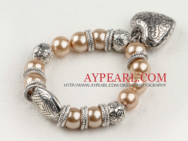 Lovely Light Brown Round Acrylic Pearl And Engraved Metal Charm Heart Pendant Bracelet