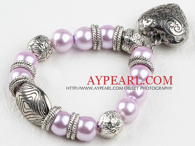 Nice Purple Round Acrylic Pearl And Engraved Metal Charm Heart Pendant Bracelet