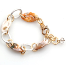 Summer Fashion Creazy Agate Alloyed Loop Chain Bracelet