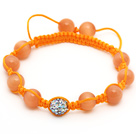 Orange Series 10mm Round Orange Cats Eye and Rhinestone Beads Adjustable Drawstring Bracelet