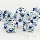 Wholesale Elegant 5 Pcs 12Mm Round Blue Series Acrylic Manmade Pearl Wrap Wired Bangle Bracelet