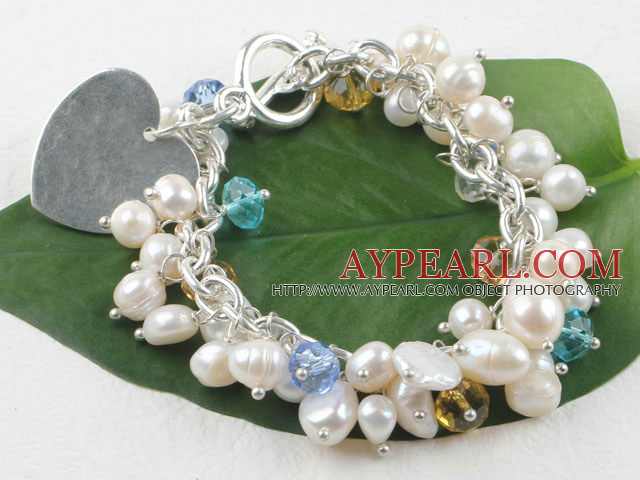 Wonderful White Freshwater Pearl And Multi Color Crystal Loop Chain Bracelet With Heart Charm