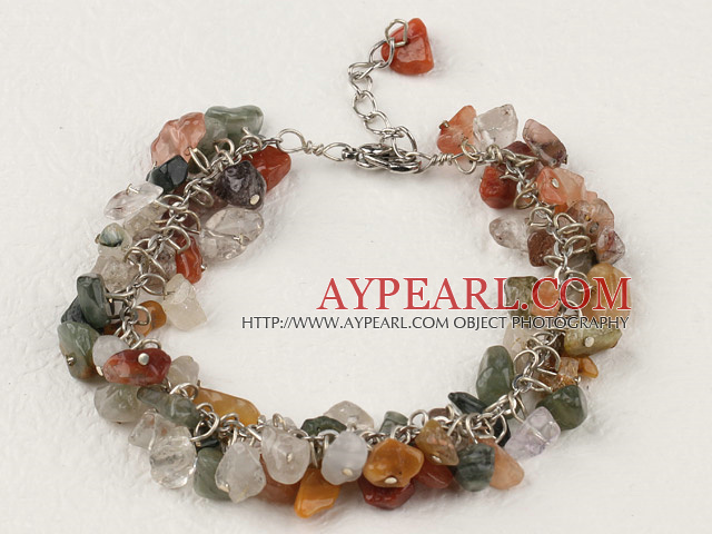 Fashion Loop Chain Style Colorful Rutilated Quartz Chips Bracelet With Extendable Chain