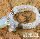 Wholesale Three Strand Opal Crystal Elastic Bangle Bracelet