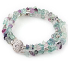 Pretty 3 Strands Rainbow Fluorite Wired Wrap Charm Bangle Bracelet
