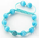 Lake Blue Series 10mm Round Lake Blue Cats Eye and Rhinestone Beads Adjustable Drawstring Bracelet