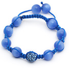 Sky Blue Series 10mm Round Cats Eye and Rhinestone Beads Adjustable Drawstring Bracelet