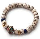 Vintage Style Single Strand Leaves the Bodhi Lapis Copper Beads Elastic Bracelet