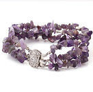 Fashion Multi Strand Natural Amethyst Chips Wrap Bangle Bracelet