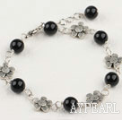 Beautiful 8Mm Black Agate And Flower Charm Bracelet With Extendable Chain