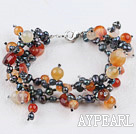 multi strand pearl and agate bracelet