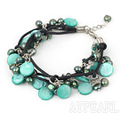 Wholesale multi strand dyed green pearl and shell bracelet with extendable chain