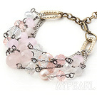 Pink Series Assorted White Freshwater Pearl and Rose Quartz Bracelet with Metal Chain